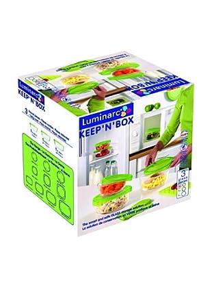 Luminarc Conjunto 3 Recipientes Redondos Con Tapa Modelo Keepn Box