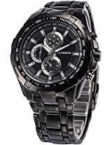 Ampm24 Fashion Mens Analog Black Dial Stainless Steel Band Sport Quartz Wrist Watch Cur007