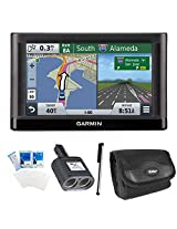 """Garmin nuvi 55LM Essential Series GPS Nav w/ Lifetime Maps 5"""" Display Essentials Bundle. Bundle Includes GPS, International 2 Socket Cigarette Lighter Adapter, Deluxe Carrying Case, Touch Screen Stylus Pen with Pocket Clip, and Screen Protectors for LCD's"""