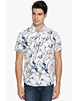 Blue Printed Slim Fit Casual Shirt Locomotive