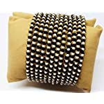 METAL BANGLE SET WITH PEARLS WRAPPED WITH BLACK SILK THREAD