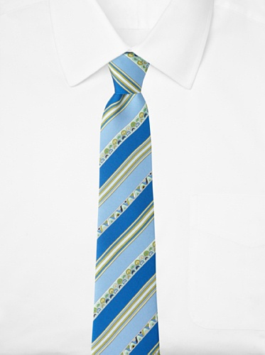 Emilio Pucci Men's Stripe and Wave Tie, Blue/Green