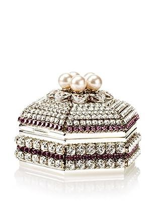 Isabella Adams Freshwater Pearl & Swarovski Crystal Hexagon Keepsake Box, February (Amethyst)