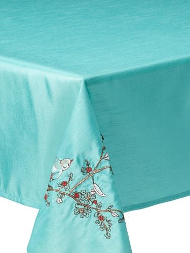 Lenox Chirp Embroidered Tablecloth (Aqua)