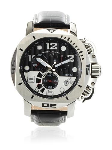 Swiss Legend Men's 10538-01 Scubador Collection Chronograph Black Leather Watch