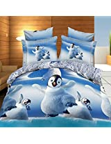 4pcs 3D Cute Penguins Reactive Dyeing Thicken Bedding Set Polyester Fiber Queen King Size Duvet Cover