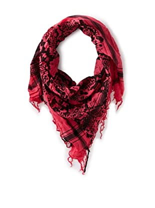 Leigh & Luca Women's Voile Snake Scarf with Tassels, Pink/Black