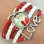 Frozen Girls Elsa Anna Red Love Bracelet Wristband Kids Gift