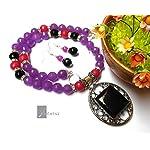 semiprecious lavender necklace with fancy black pendant from Violetsz