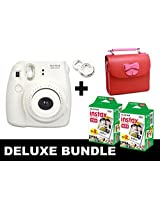 Fujifilm Instax Mini 8 - White + 40 Pack Instax Film + Butterfly Red Gm Bag + White Selfie Mirror
