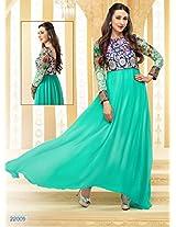 Clickedia Women Faux Gorgette Semi-Stitched Anarkali Suit (EL22009-sea green)