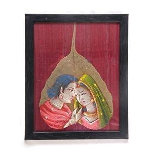 Creative Box Leaf Painting - Royal Couple On Maroon Background