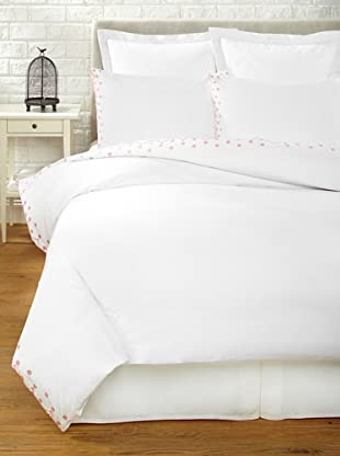 Haute Home Embroidered Scallop Duvet Set (Pink)