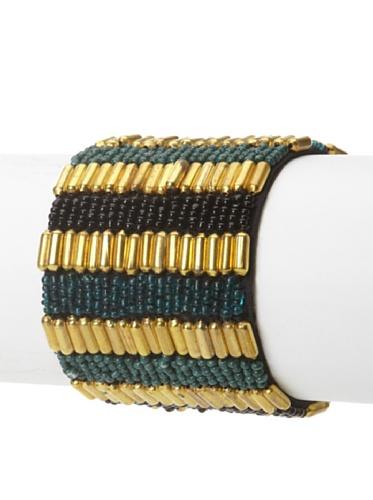 La Croix Rousse Beaded Bracelet, Gold/Green