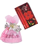 Skylofts Lovely 17pc Chocolate Net basket with candle diya set Diwali combo