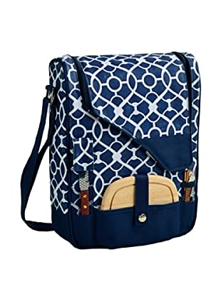 Picnic at Ascot Two-Bottle Wine & Cheese Cooler (Trellis Blue)