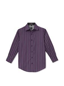 Ike Behar Boy's 8-20 Long Sleeve Striped Shirt (Purple)