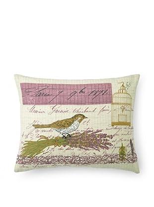 """Kathryn White Lettre De Paris Pillow, Violet/Gold, 14"""" x 18"""""""