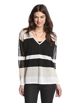 525 America Women's V-Neck Stripe Pullover (Black Combo)