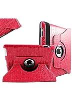 SANOXY 360 Rotating Swivel Smart Premium Vegan PU Leather Case + Smart Cover + Stand for iPad 2/3/4 (CROCODILE PINK)
