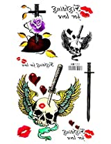 Spestyle New And Fashion Design Fighting Is Not Love,Skull With Sword,Rose And Red Lips Fake Temp Tattoo Stickers