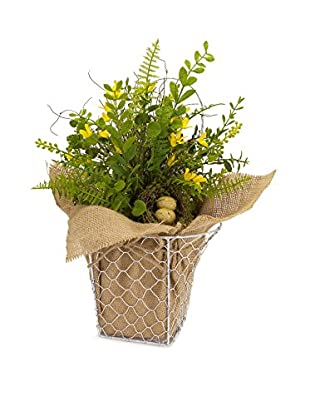 Melrose Forsythia Fern Basket, Green/Yellow