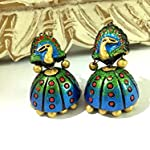 Large terracotta peacock jhumkas in blue green and gold