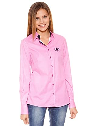 Polo Club Camisa Manga Larga Señora Entallada Cuadro (Rosa)