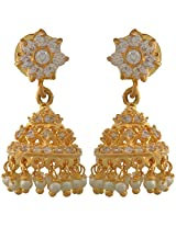 Sparkle Creation Jhumki for Women in 1 gram gold with cubic zircons