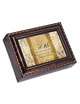 50th Anniversary Dark Burl Wood Finish with Gold Trim Jewelry Music Box - Tune Pachelbels Canon in D
