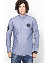 Blue Solid Custom- Sports Fit Casual Shirt