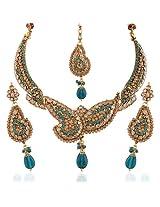 Variation Rama Green Kundan Stuuded AD Necklace Set [Jewellery]