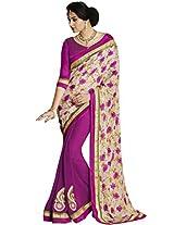 Divine Satin And Georgette Multi-Coloured Half & Half Saree with Blouse