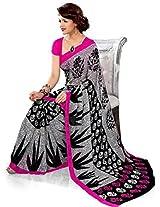 Ethnic Queen Georgette Black & Pink Colour Saree