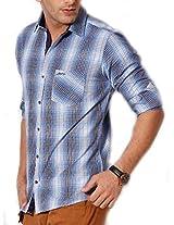 SPEAK Men's Blue Checks Cotton Shirt