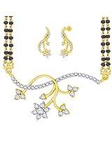"""Peora 18 Karat Gold Plated """"Shivranjani"""" Mangalsutra Earrings Set (PTAM46GJ)"""