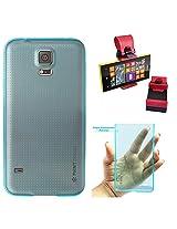 DMG PHNT Premium Scratch-Resistant Ultra Thin Clear TPU Skin Case for Samsung Galaxy S5 (Neon Blue) + Car Steering Holder