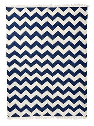 Winward Hand-Woven Wool Rug, Blue/White