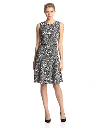 Calvin Klein Women's Printed Fit-and-Flare Dress (Black/Birch Antique Lace)