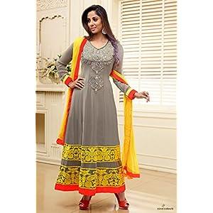 Semi Stitched Sangita Ghosh In Grey Latest Designer Anarkali Suit