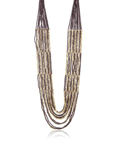 La Croix Rousse Beaded Necklace, Gold/Purple