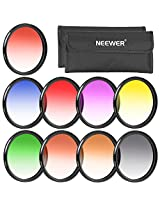 Neewer® 58MM Complete Graduated Color Lens Filter Set (9pcs) for Camera Lens with 58MM Filter Thread - Includes: Red, Orange, Blue, Yellow, Green, Brown, Purple, Pink and Gray ND Filters + Filter Carry Pounch + Microfiber Lens Cleaning Cloth