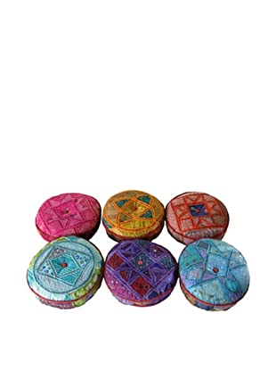 Set of 6 Assorted Sari Seat Cushions, Multi