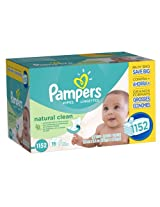 Pampers Baby Wipes Natural Clean (16 Packs, 72 Sheets per Pack)