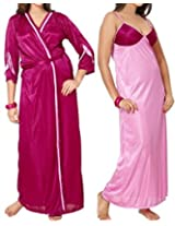 Famacart Women's Backless Satin Pink Night Dresses & Nighties Robe Nighty