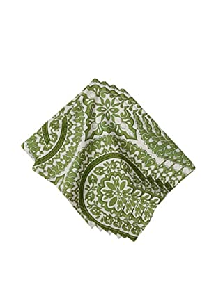 Couleur Nature Set of 4 Medallion Napkins, Green