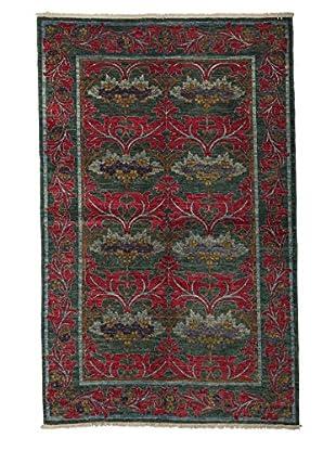 Darya Rugs Modern Oriental Rug, Green, 5' 1