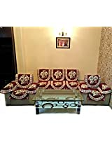 GOLD LILY MAROON POLYCOTTON SOFA SLIPCOVER SET WITH 6 ARMS COVER