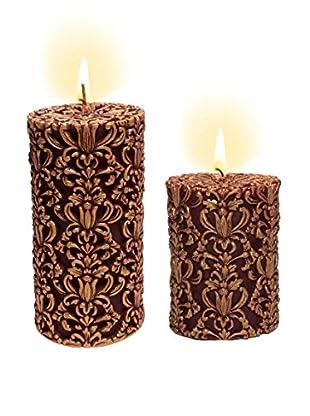 Volcanica Set of 2 Red & Gold Paramount Pillar Candles
