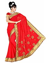 Somya Women's Embroidered Chiffon Red Saree with Booti work